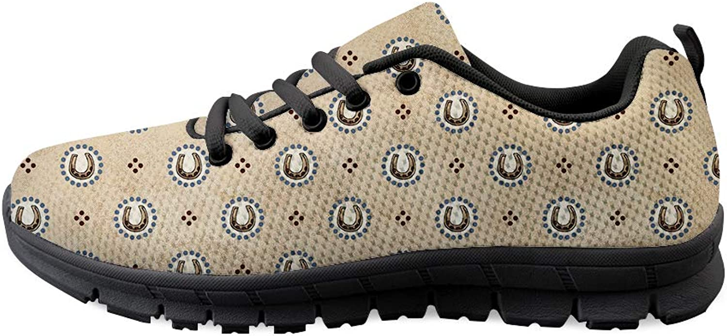 Owaheson Lace-up Sneaker Training shoes Mens Womens Lucky Horseshoe Pattern