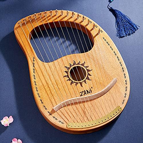 Tyfiner Arpa De Lira 19 Cuerdas Caoba Arpa Pequeña Portátil Instrumento Portátil de 16 Cuerdas para Principiantes para Amantes De La Música Principiantes Niños Adultos,009,16 Strings