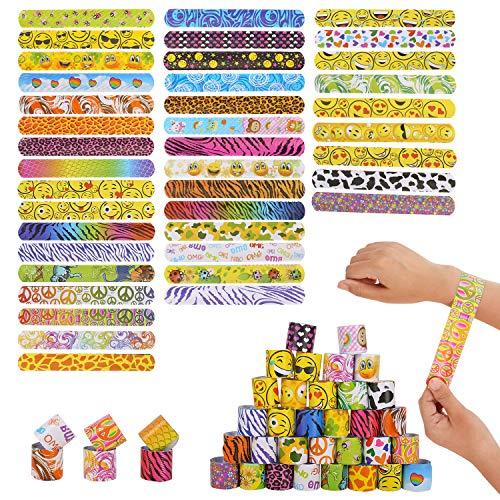 Herefun Snap Armbänder, 40 Stück Schnapparmband Bunte Schnapparmbänder Bunte Slap Bands Retro Slap Armbänder für Mädchen und Jungen Geburtstagsgeschenke Mitgebsel