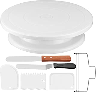 Puroma 11 Inch Rotating Cake Turntable with 3Pcs Comb Icing Smoother, Straight & Offset Spatula and Cake Leveler for Cake ...