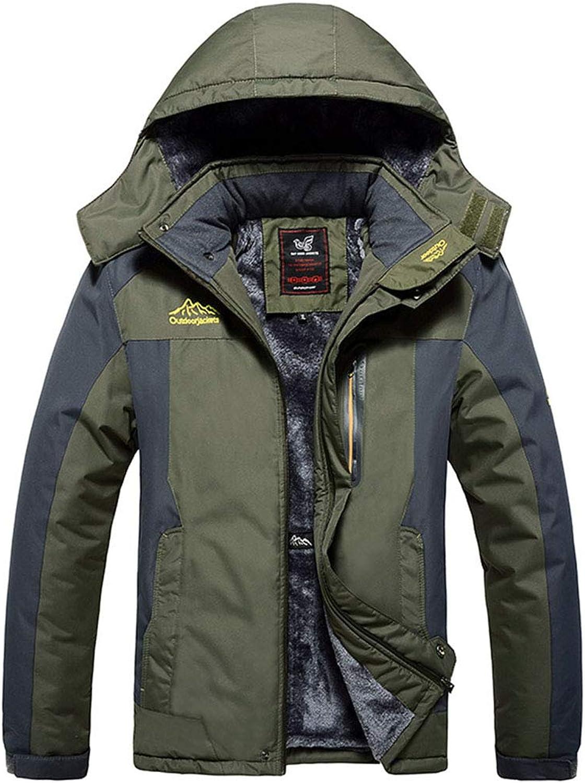 LIHUA Men's Outdoor Jacket And Velvet Padded Waterproof Coat Men's Jacket (color   Green, Size   L)
