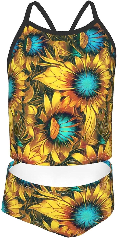 Girls 2 Piece Tankini Swimsuit Set Floral Sunflower Bikini Beach Sport Swimsuit Comfortable Bathing Suit