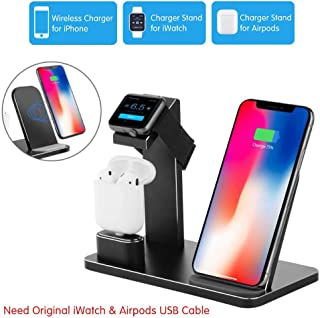 COSOOS Wireless Charger, 3IN1 Wireless Charging Station for Apple Product,iWatch Series 5/4/3/2/1,Airpods Pro/2/1,Qi Charging Stand for iPhone 11Pro Max/ 11 Pro/X/XS/Xr/8/8 Plus(Aluminium,No Adapter)