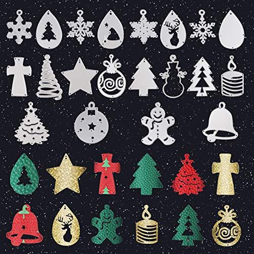 (20 Pcs) Christmas Earring Cutting Dies for Leather, Christmas Tree Snowflake Water Drop Snowman Bell Shape Metal Teardrop Earring Die Cut for Earring Making Crafts Supplies DIY Jewelry