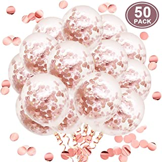 Rose Gold Confetti Latex Balloons, 50pcs 12 Inch Party Balloons for Bridal Shower Wedding Birthday Engagement Decoration
