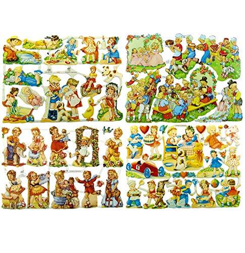 Glanzbilder Kinder Nostalgie Motiv Set aus 4 verschiedenen Oblaten Papierbögen zum Basteln und Verzieren