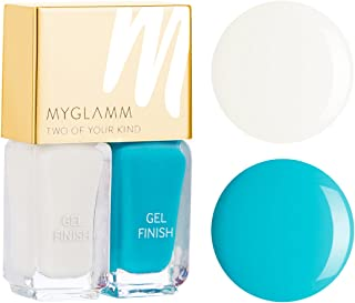 Myglamm Two Of Your Kind Aquadisiac and Cloudy Affar Nail Polish, White/Bright Turquoise