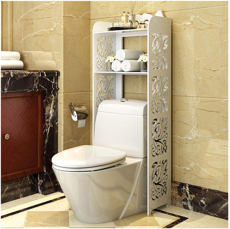 Kitchen Storage Shelf White Two-Layer Toilet Rack Bathroom Space Savers Delicate MDF Bathroom Storage Rack -45 55x25x128cm Organisation (color   A, Size   Width-45cm)