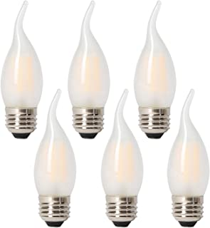 Panledo LED 40 Watt Candelabra Bulbs Medium Base Frosted Bulbs, Dimmable Filament 40 Watt LED Bulbs (Uses only 3.5 watts), E26 Base, 2700K Warm Light Candle Bulbs, Pack of 6
