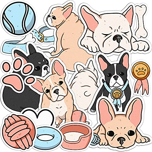 Mertak - 17 PCS - Sticker Pack for Laptop Vinyl French Bulldog for Notebook Dogs Puppy Frenchie Set Waterproof for Dog Owners for Water Bottle Cute Scrapbooking for Planner Decals