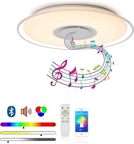 MAKELONG Iluminación de techo de interior, 36W 450mm 3000lm, Plafonnier Plafón LED Lámpara de Techo con Altavoz Bluetooth, 3000-6500K + RGB ajustable candelabro, Modo de luz nocturna, APP Disponible