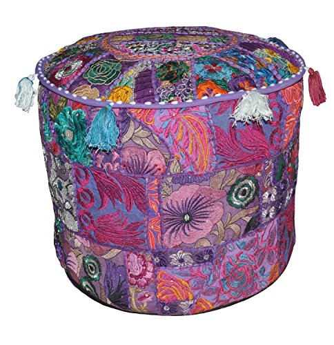 The Ethnic Crafts Pouf Rajasthali Patchwork Ottoman Broderie Fait Main