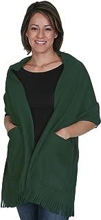 Soft Fleece Fringed Pashmina Shawl Wrap Shoulder Winter Scarf with Pockets Black