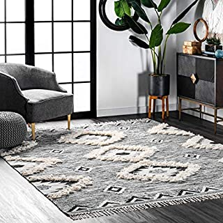 nuLOOM Moroccan Shag Fringe Wool Rug, 6' x 9', Grey (B07GTTW41P) | Amazon price tracker / tracking, Amazon price history charts, Amazon price watches, Amazon price drop alerts