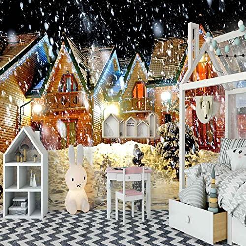 FVGKYS Papel Pintado Autoadhesivo Moderna Escena De Nieve De La Casa De Navidad Papel Tapiz Sala De Estar Dormitorio Tv Sofá Fondo Pintura De Pared Decoración Del Hogar Murales Personalizado 3D 400x28