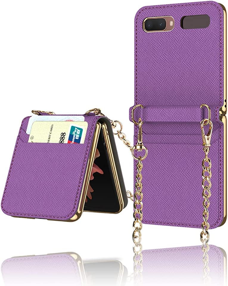 Yatchen Leather Case Designs Samsung Galaxy Z Flip,Cute Luxury Card Package with Metal Chain for Women Makeup Mirror Magnetic Flip Protector for Galaxy Z Flip 5G (Purple)