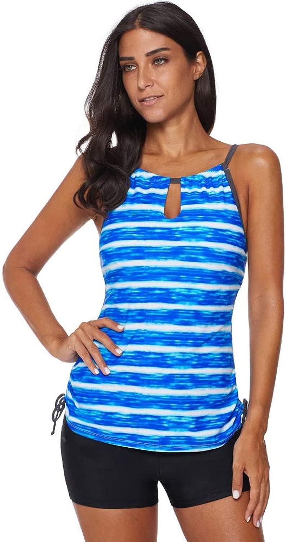 Frauen Sommer Bikini, konservativ schlank Crew Kragen Quick Dry Beach Badeanzug (S - 2XL),E,XL