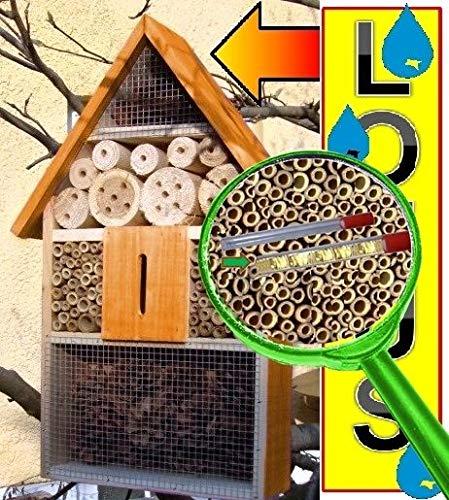 Insektenhotel groß 50 cm mit Lotus-Effekt Oberflächen Beschichtung und 2 Sichtgläsern 8 und 11 mm Beobachtungsröhrchen komplett mit Zellstoff und Füllmaterial für Nistkasten Schmetterling Haus Bienen Wildbienen Unterschlupf hellbraun braun XXXL Nistkasten Schmetterling Marienkäferkasten