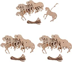 Prettyia 30Pcs Rustic Wooden Shapes Horse Wood Hanging Tags with Twine Cute Animal Cutouts Party Favors, 90 x 80 x3mm