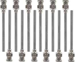 12 Pack 1.5 inch Stainless Steel Dispensing Needles - 6 Different Size 10/14/18/20/22/25 Gauge Luer Lock Syringe Tips Glue Blunt All Metal Dispense Needle by Brostown