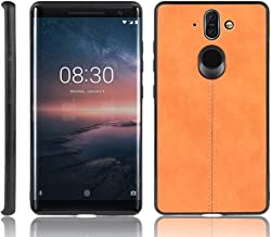 For Nokia 8 Sirocco Shockproof Sewing Cow Pattern Skin PC + PU + TPU Case New (Black) LKay (Color : Orange)