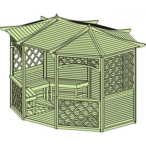 CHECO LTD 12ft x 9ft (Ex 13ft x 10ft) Wooden Gazebo - Heavy Duty Pressure Treated Hot Tub With Optional Colour Roof Felt And 10 Year Rot Guarantee (Only Gazebo without shingles)