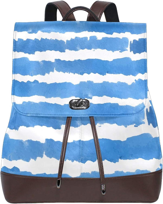 DEZIRO Leather Azure Brush Painting School Pack Backpacks Travel Bag