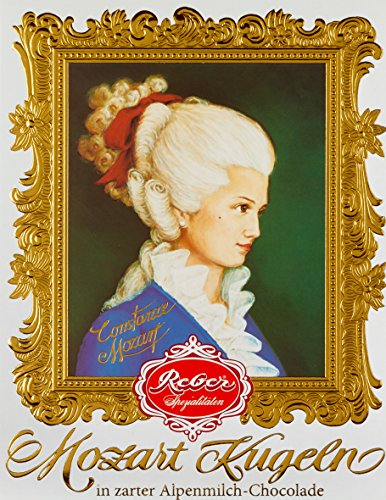 Reber Constanze Mozart-Kugeln, Pralinen aus Alpenmilch-Schokolade, Marzipan, Nougat, Tolles Geschenk, 12er-Packung