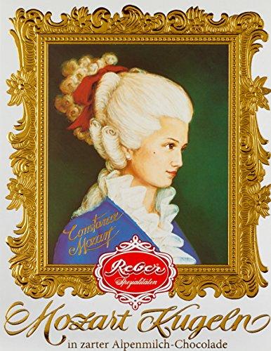 Feinste Reber Constanze Mozart-Kugel, in der 12er Barock-Packung, 240g, in Alpenmilch-Chocolade,frei von künstlichen Konservierungsstoffen, frei von Farbstoffen,frei von Palmfett