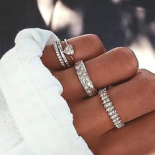 Missgrace Vintage Boho Women Leaf Rhinestones Knuckle Rings for Girls Stackable Midi Joint Finger Ring Set Hollow Carved F...