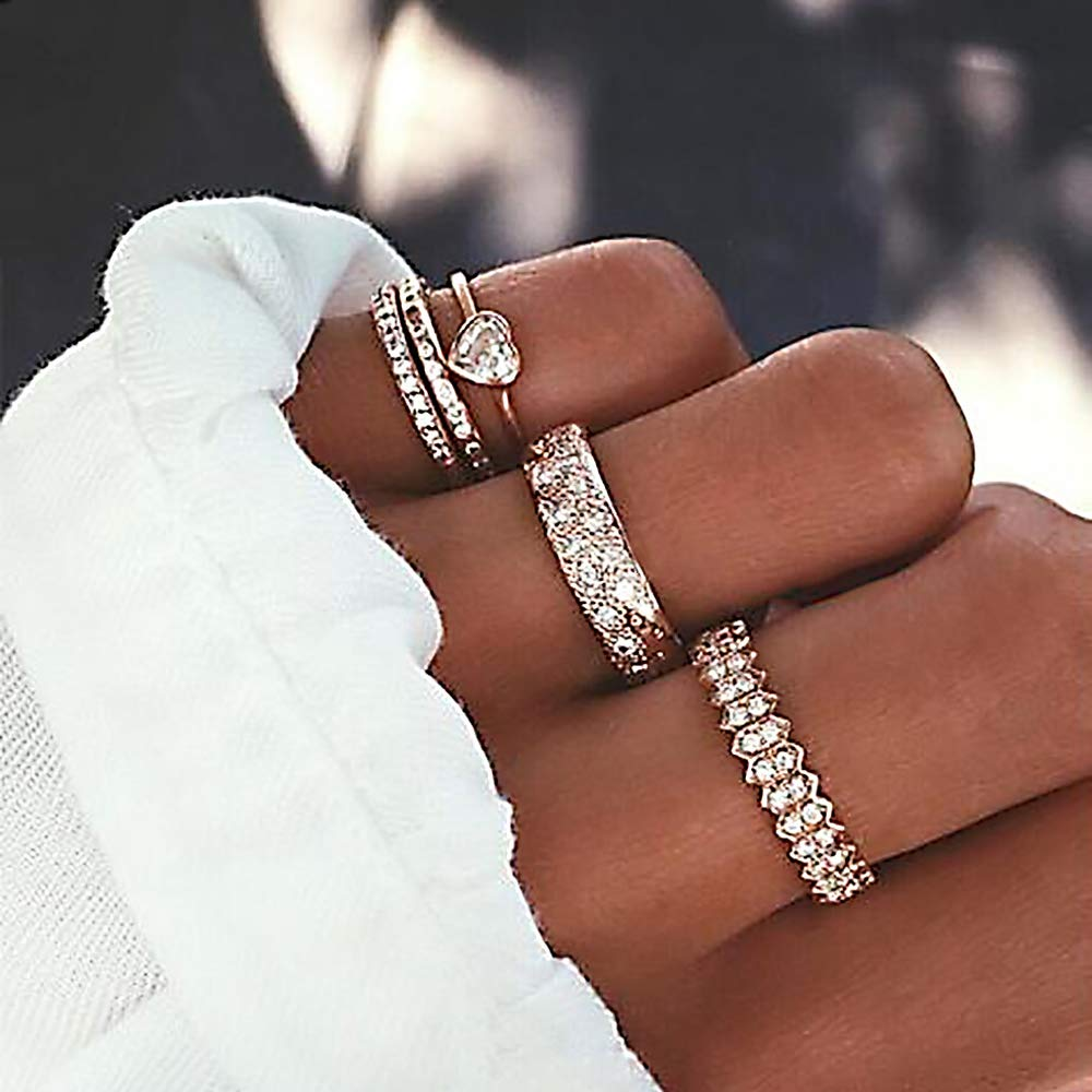 Missgrace Vintage Gold Boho Dainty Women Rhinestones Knuckle Rings for Girls Stackable Midi Joint Finger Ring Set Hollow Carved Flowers for Women 5Pcs(Style 4)