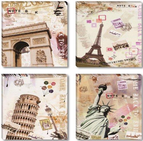 Visario Leinwandbilder 6610 Bild auf Leinwand abstrakt Collage Städte, 4 x 30 x 30 cm, 4 Teile