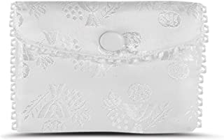 Girls First Communion White Satin Rosary Purse, 2 1/2 Inch