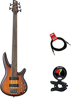 $999 » Ibanez SRF705 Portamento 5 String Fretless Bass Guitar Package With Guitars Clip On Tuner and Instrument Cable Bundle