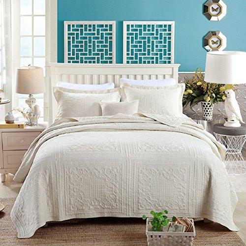 Beddingleer rosa chiaro unica taglia Extreme morbido jacquard 100% cotone patchwork Quilted Bedspread Handmade Bedding Quilt/Sham set, pezzi (bianco)