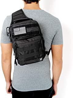 Gecko Tactical Sling Backpack, Small Military Bag, Free American Flag Patch & Bottle Opener. Molle shooting range shoulder bag.