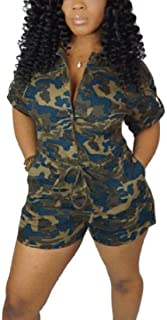 FSSE Women's Camo Print Short Sleeve Sexy Drawstring V Neck Jumpsuit Romper with Pockets