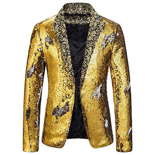 Kongtou Pailletten-Anzug, Bühnenauftritt, Tanz, Party, Bankett, Kostüm, Halloween Gr. Small, goldfarben