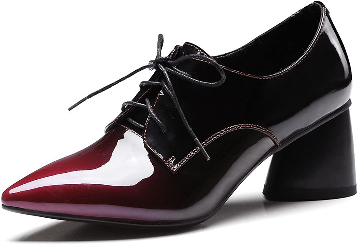 Nine Seven Patent Leather Women's Pointed Toe Chunky Heel Lace Up Handmade Cute Dress Pumps shoes