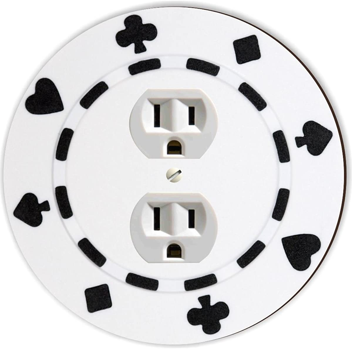 Rikki Knight RND-OUTLET-84 Poker Chip Round Single Outlet Plate, White/Black