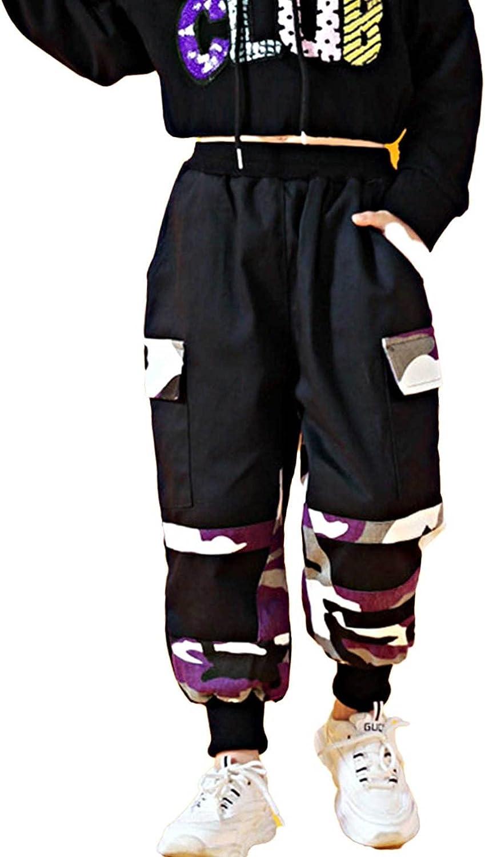 Aislor Girls' Jogger Cargo Pants Active Dungarees Trousers Kids Camouflage Patchwork Sweatpants Hip Hop Harem Trousers