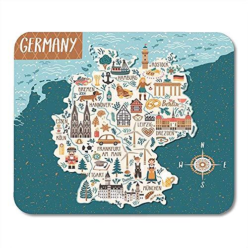 Bayerisches Berlin Deutschlandkarte Reisen mit deutschen Wahrzeichen Menschen Nahrung und Tiere Kartographie Bier Attraktiv Dekorativ Computer Pads 25 * 30cm