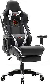 Ficmax Silla ergonómica para juegos Silla para computadora con masaje de soporte lumbar, sillas de juego para E-sports para jugador, silla de oficina con reposapiés y para reposacabezas(blanco&negro)
