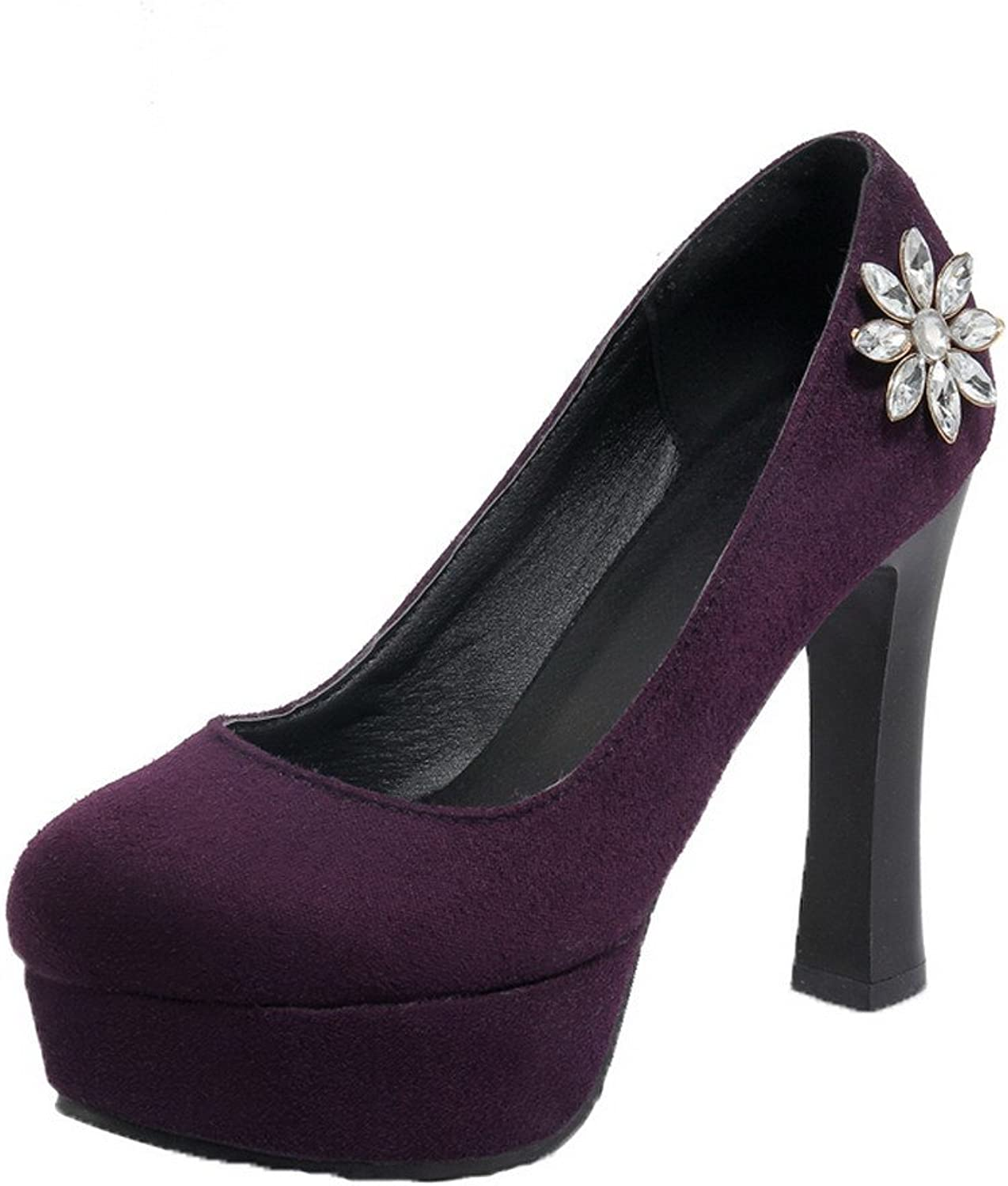 AmoonyFashion Women's High-Heels Frosted Solid Round Closed Toe Pumps-shoes
