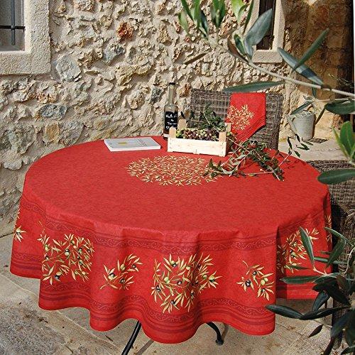 Nappe ronde coton enduit clos des oliviers rouge 1m80