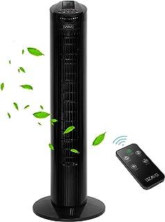 OZAVO Ventilador de Torre con Control Remoto Movimiento Silencioso Oscilación de 70° Ventilador 3 velocidades con Temporizador