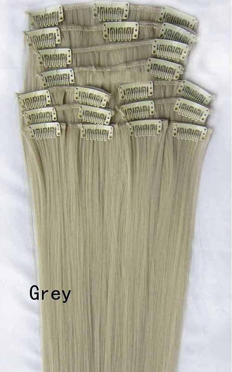 取り付けダニ納屋Doyvanntgo 55センチメートル130グラム12個/セット女性長いストレート合成ヘアフルヘアクリップは、ヘアエクステンションのピース(グレー、ゴールド、ワインレッド、ブラック) (Color : Grey)