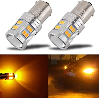 1156 Ba15s 1141 1003 7506 1156A Super Bright LED Bulb PYJR AC/DC 10-30V, 600 Lumens, Amber Yellow for Car RV Interior, Turn Signal, Blinker, Side Marker Lights Bulbs (Pack of 2)