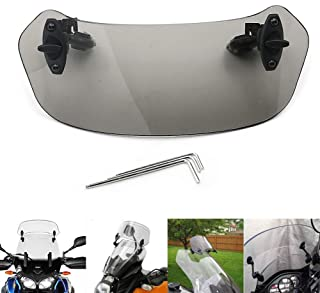 Motoparty Adjustable Clip On Windshield Extension Spoiler Windscreen Air Deflector For Harley Breakout Road King Sportster 883 1200 Street Glide 500 750 Iron 883 Electra Glide Dyna CVO,For Buell XB12X