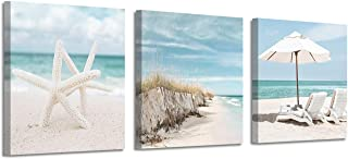 Coastal Canvas Wall Art Print: Starfish & Beach Chairs on Sand Artwork for Wall Painting for Bedroom (12